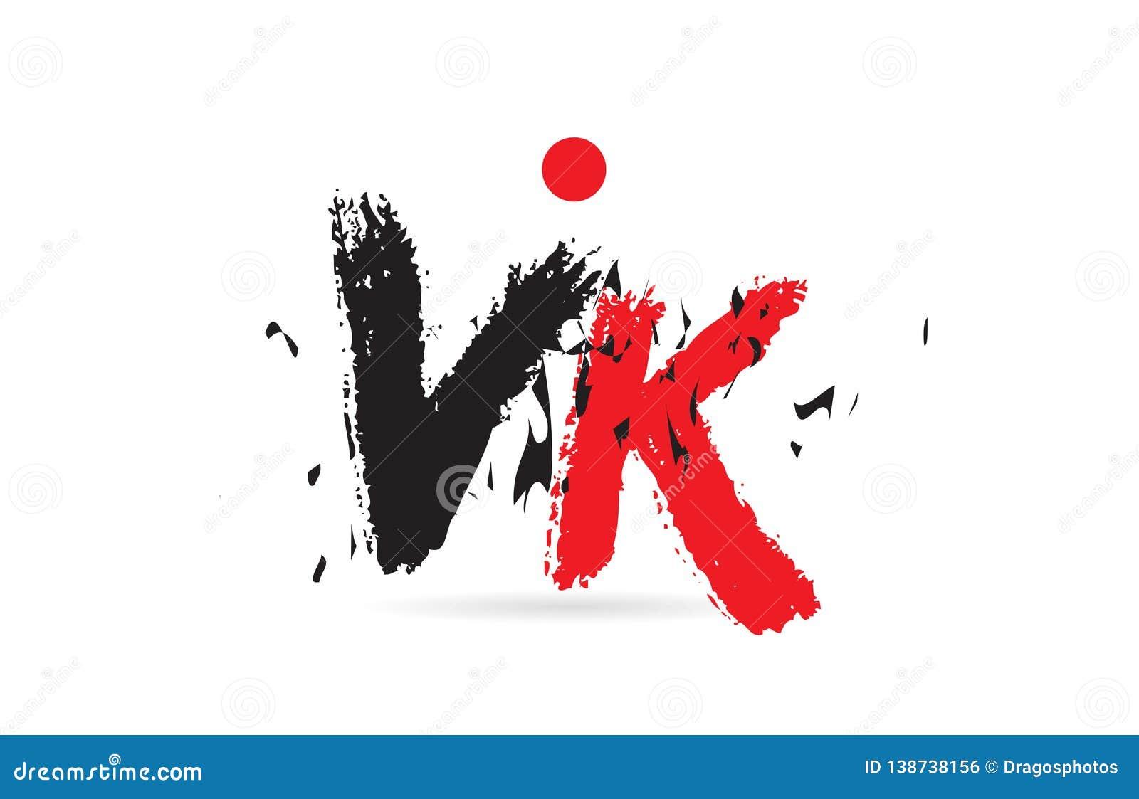Alphabet Letter Combination VK V K With Grunge Texture Logo