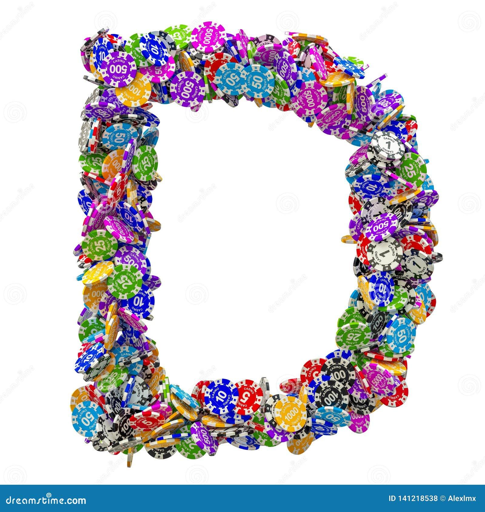 Alphabet Letter D From Casino Tokens. 3D Rendering Stock ...