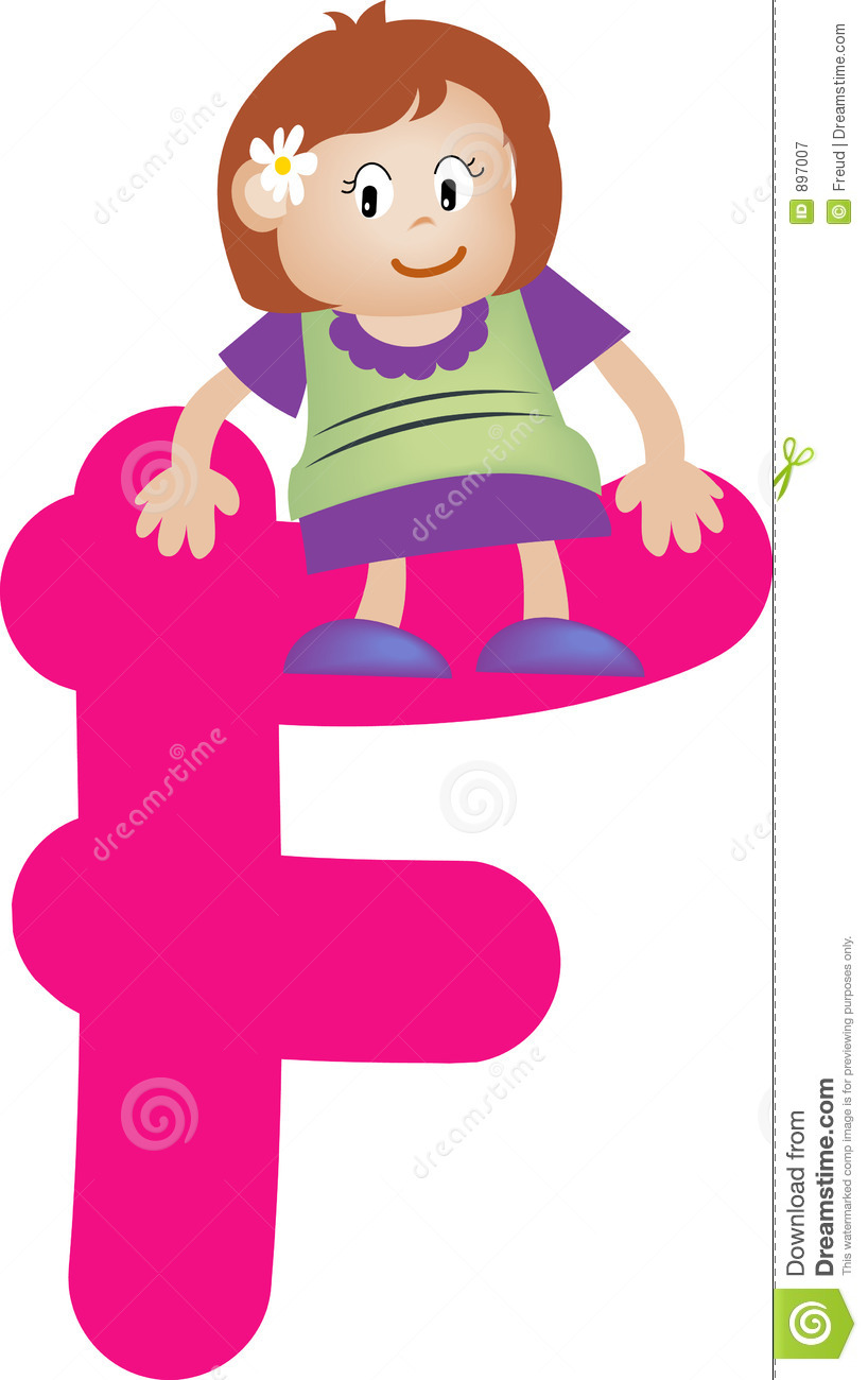 A F A S I A: Alphabet Letter F (girl) Stock Illustration. Image Of