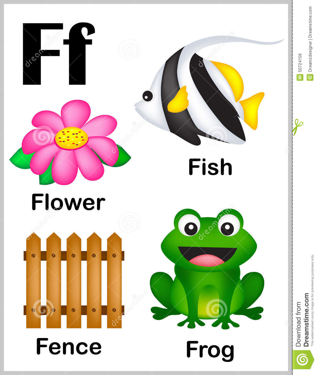 Alphabet letter f with set of illustrations and words printable sheet