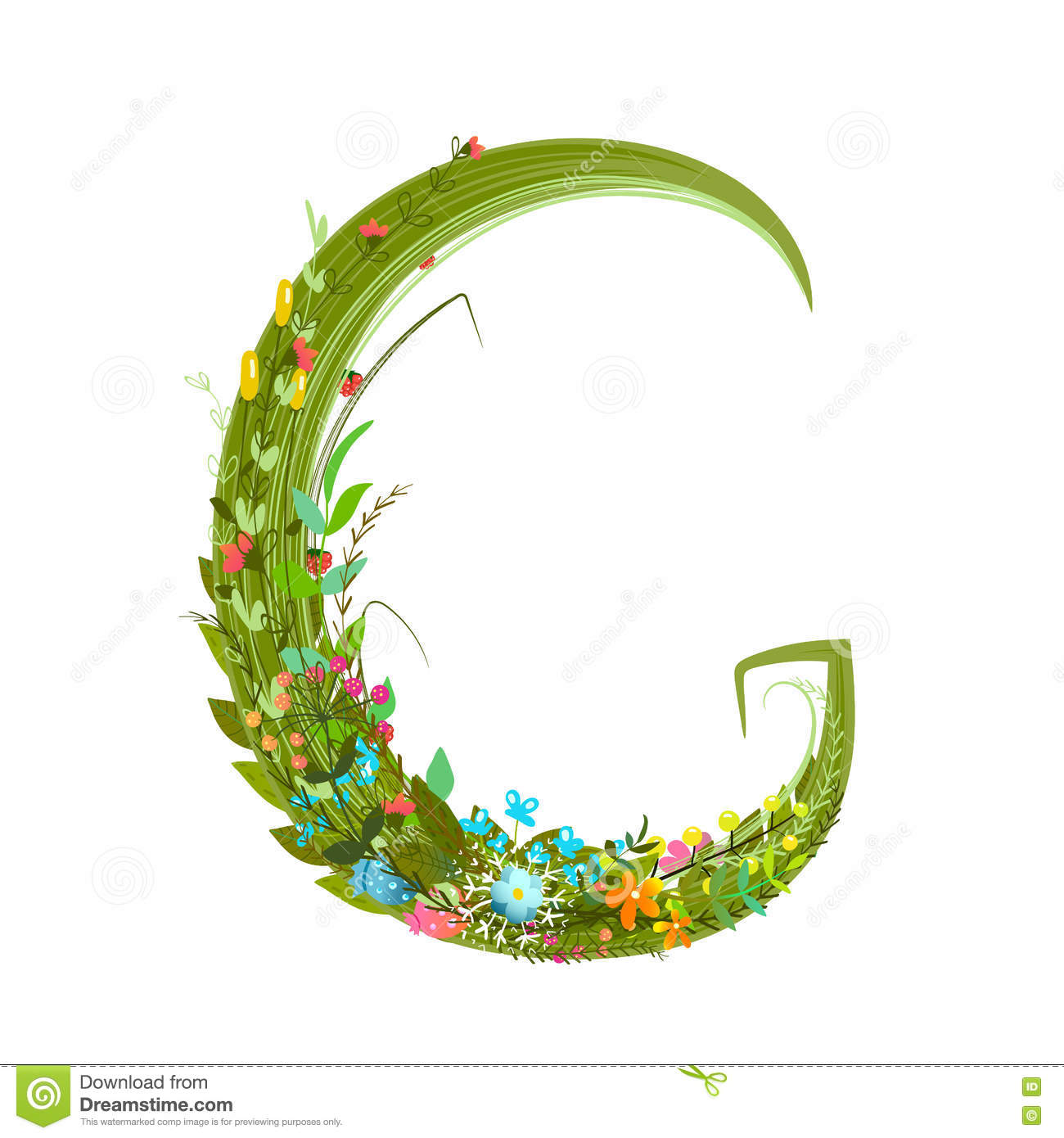Download Alphabet Letter G Elegant Flower Blooming Botanical Sign Stock Vector