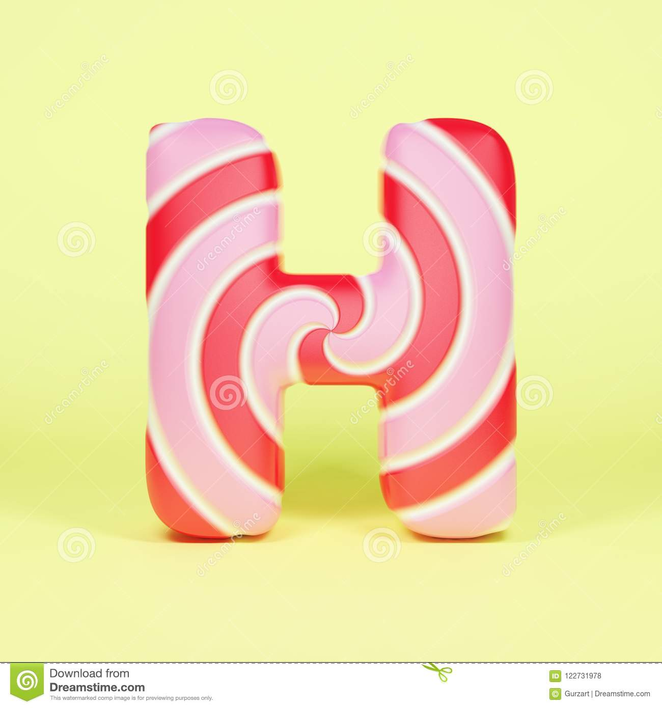 b5a14e81e2e0d Alphabet letter H uppercase. Christmas font made of pink and red striped  lollipop. 3D render on yellow background.