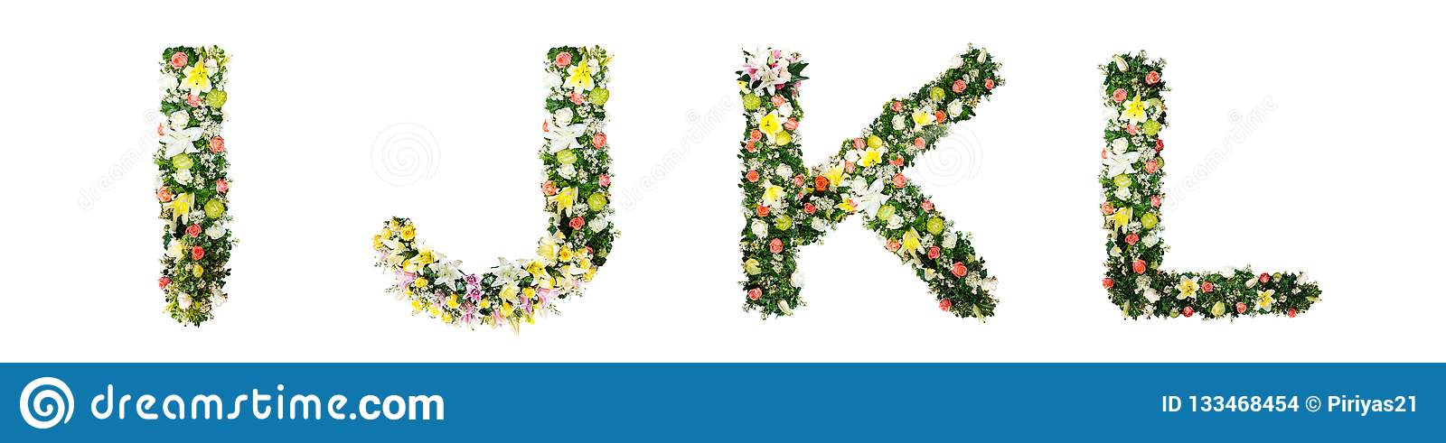 Alphabet letter I J K L made from colorful flowers isolated on w