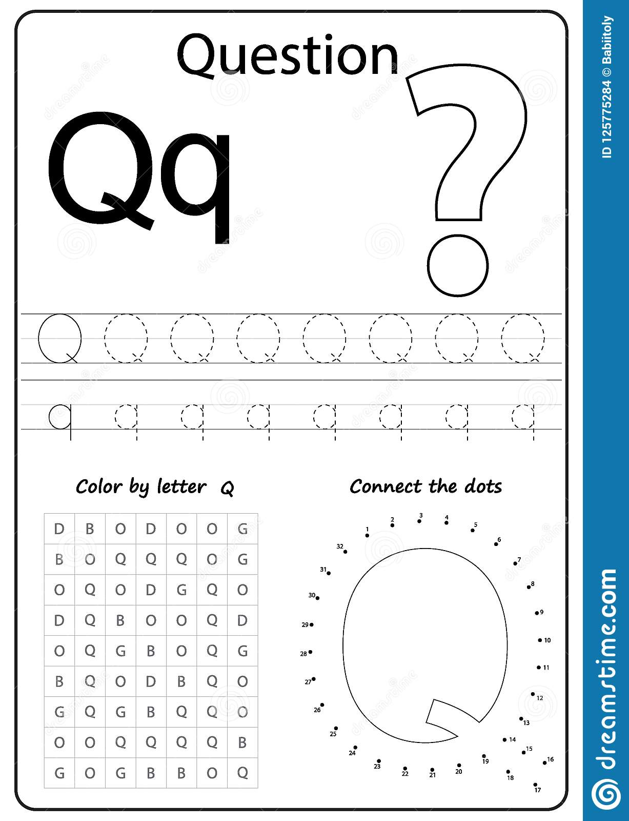 Writing Letter Q. Worksheet. Writing A-Z, Alphabet ...