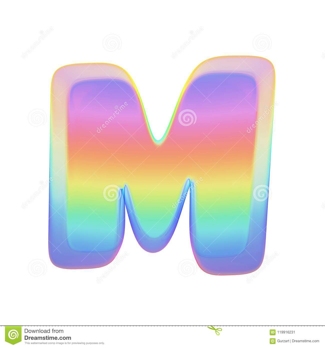 Alphabet Letter M Uppercase  Rainbow Font Made Of Bright