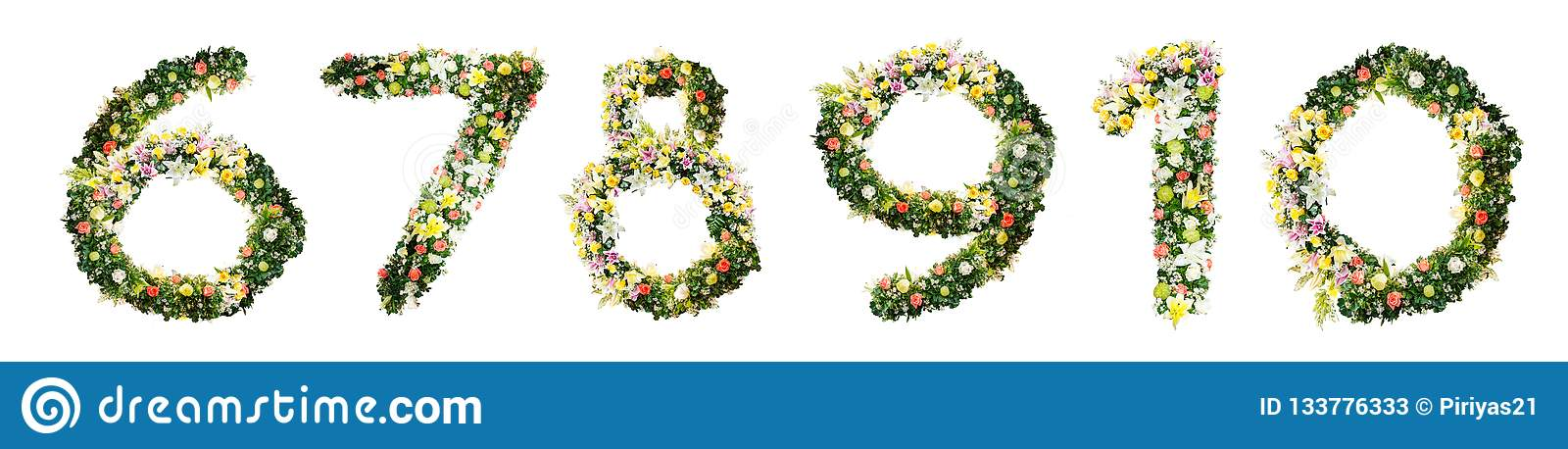 Alphabet letter 6 7 8 9 10 made from colorful flowers isolated o