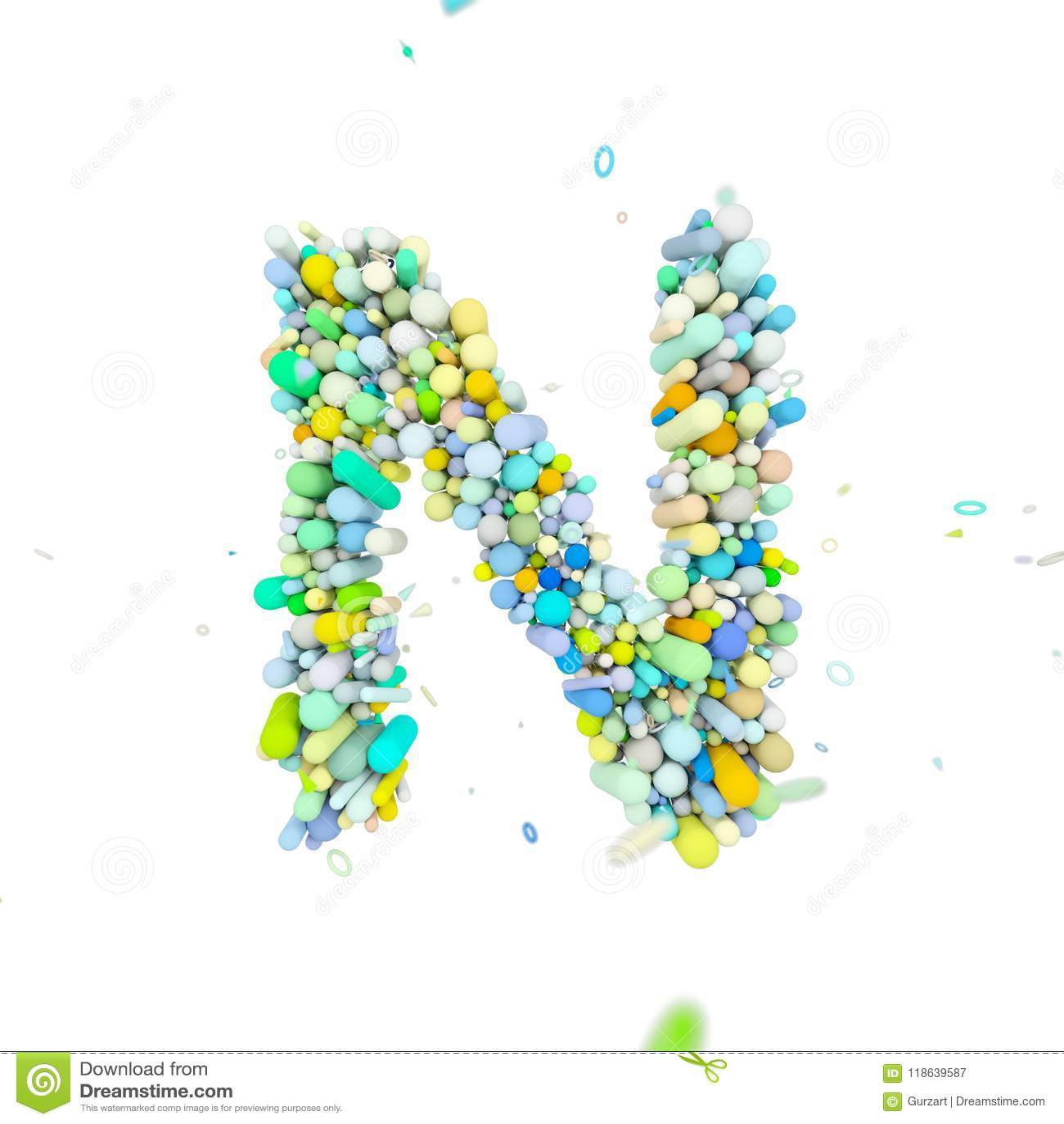 Alphabet Letter N Uppercase  Funny Font Made Of Plastic