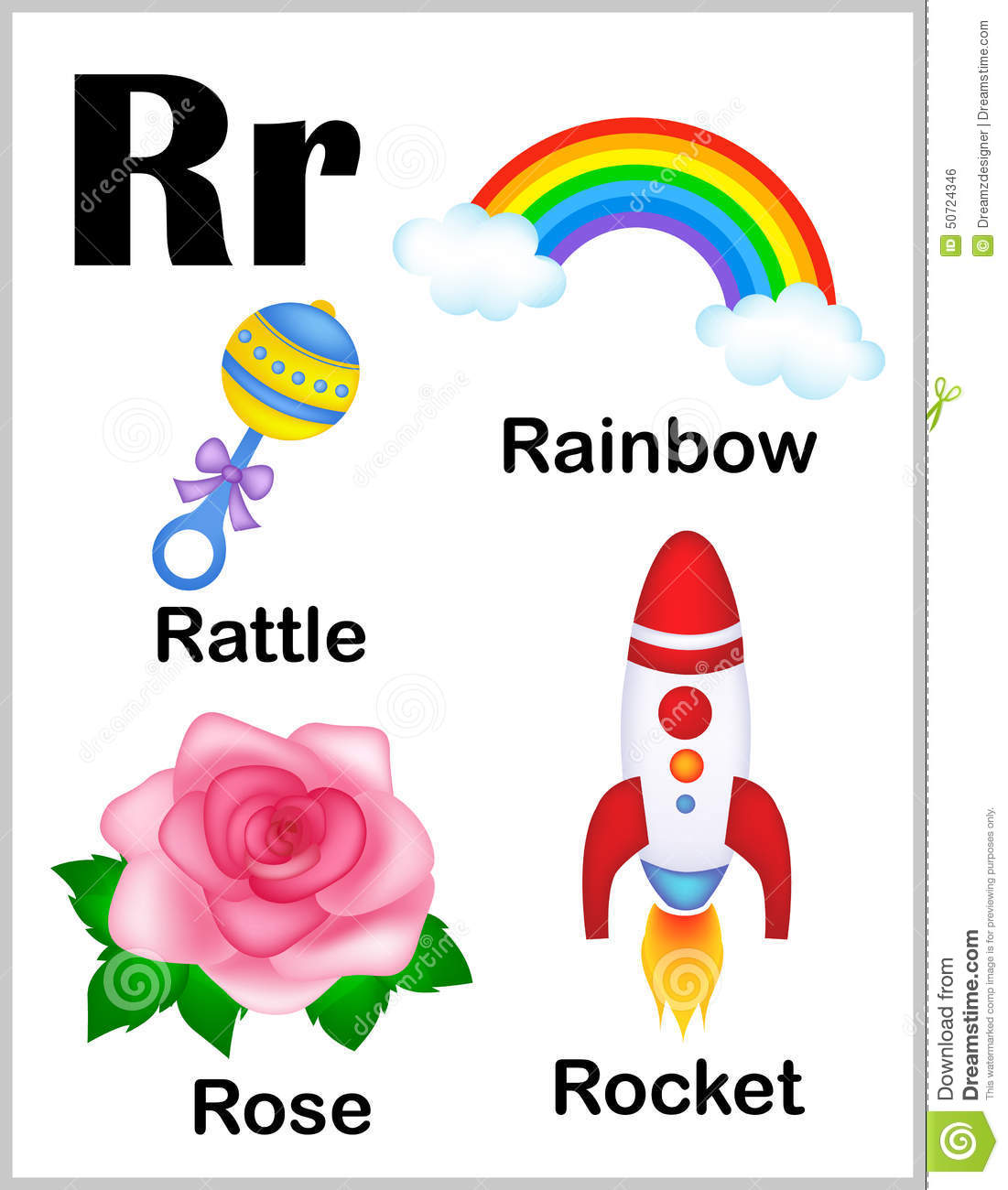 Alphabet Letter R Pictures Stock Vector