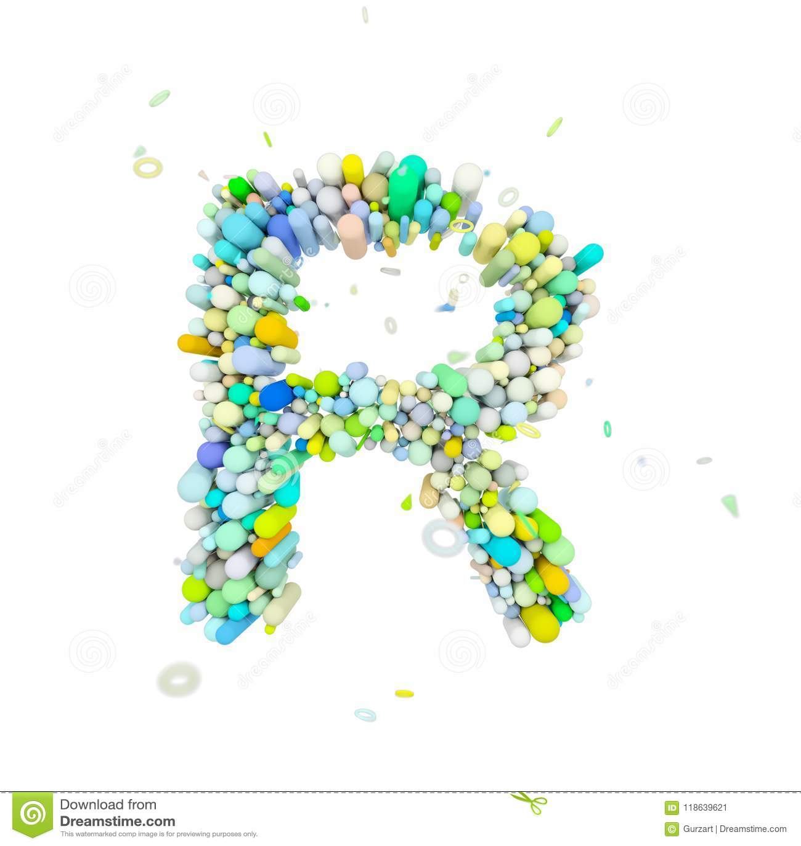 Alphabet Letter R Uppercase  Funny Font Made Of Plastic