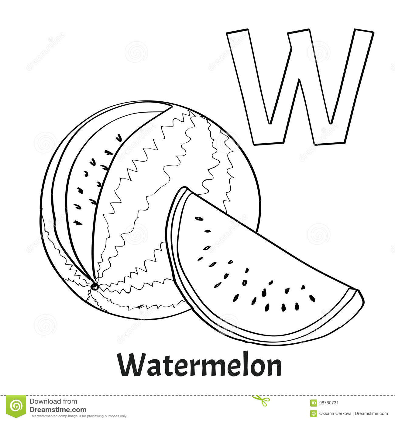 Alphabet Letter W Coloring Page Watermelon Stock Vector