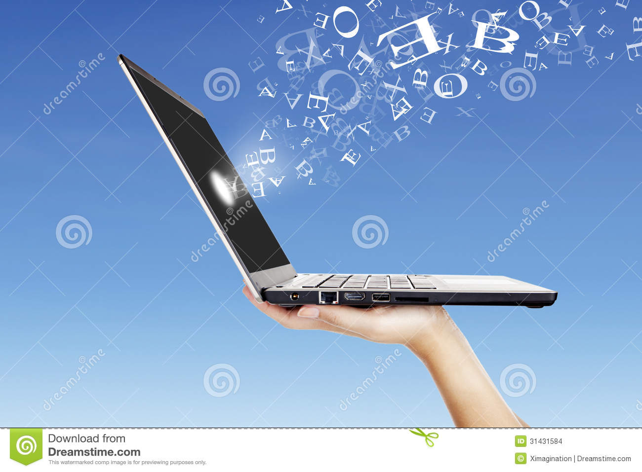 Alphabet Letters Flying From Laptop Screen Outdoor Stock