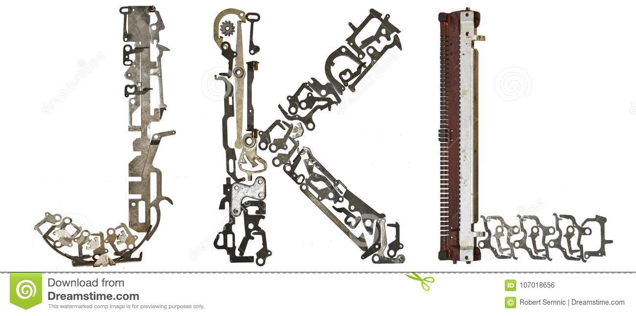 Alphabet Letters J K L Assembled From Metallic Parts Stock Photo