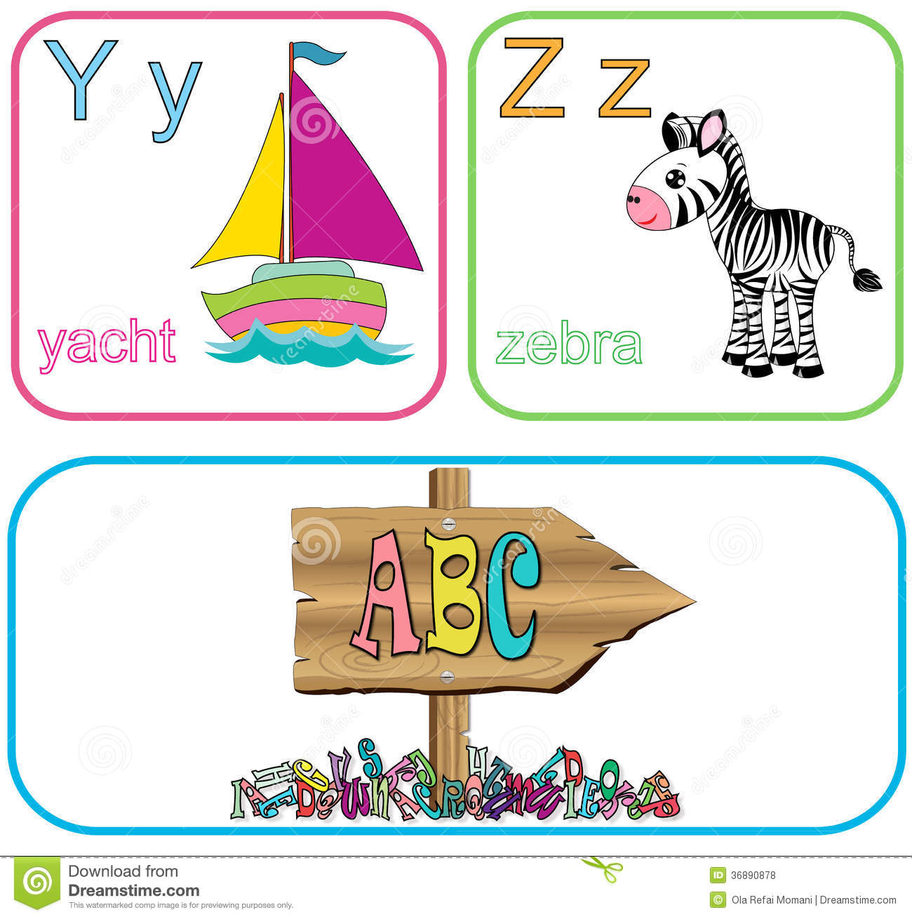 Alphabet letters for kids with cute drawings.