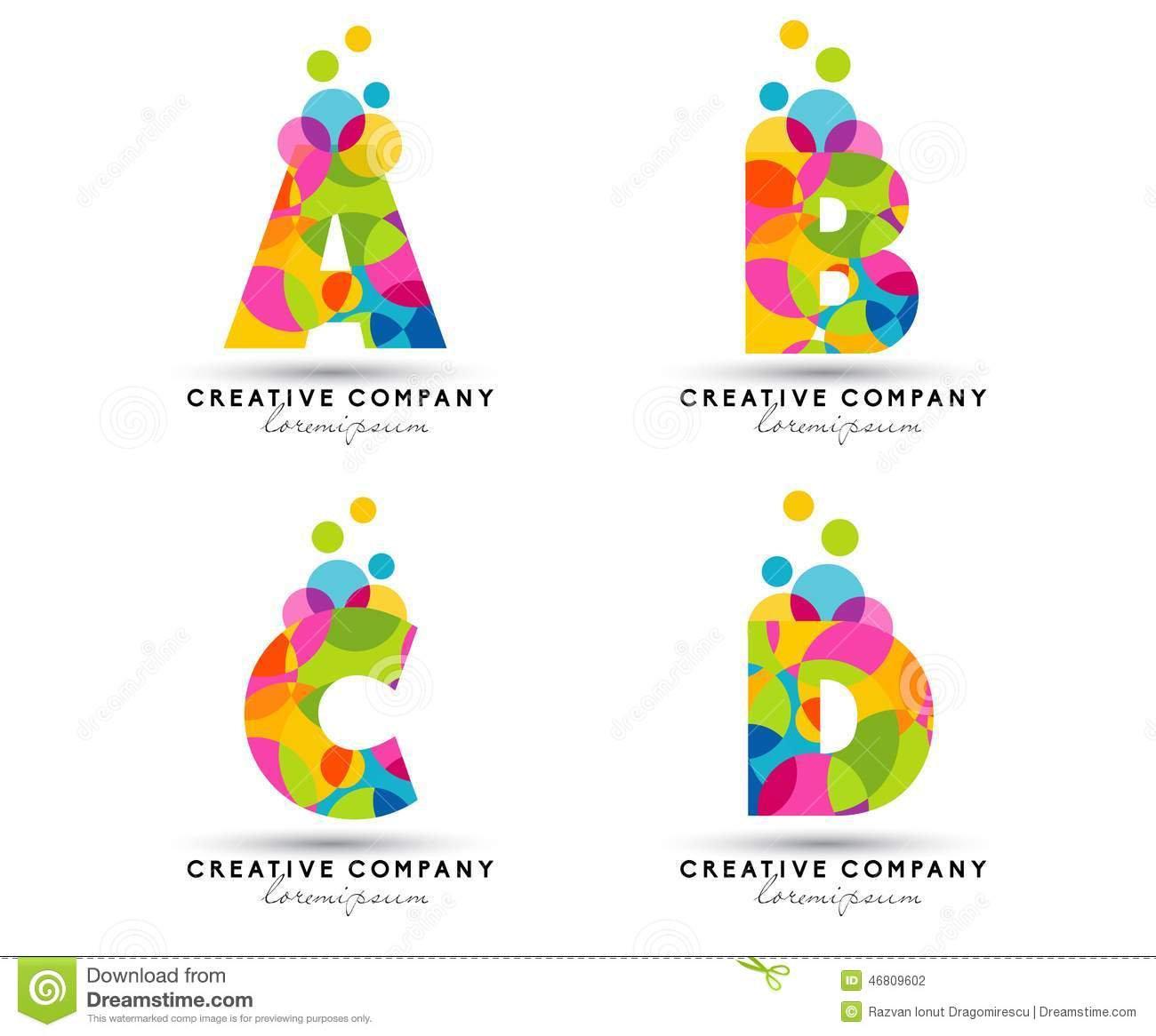 alphabet letters logo creative vector illustration letter abcd