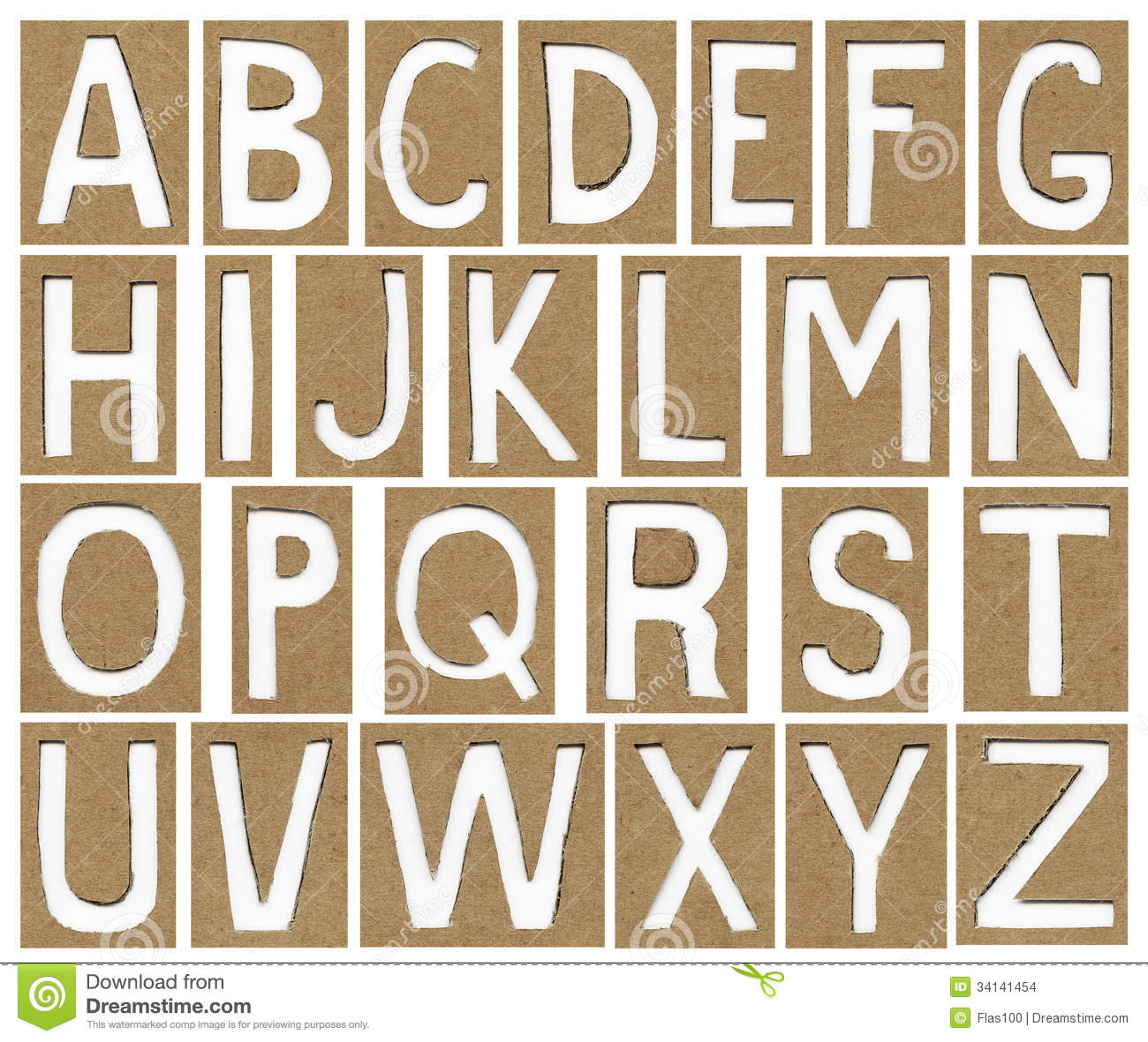 Alphabet letters made from cardboard paper stock images for Alphabet letters cardboard