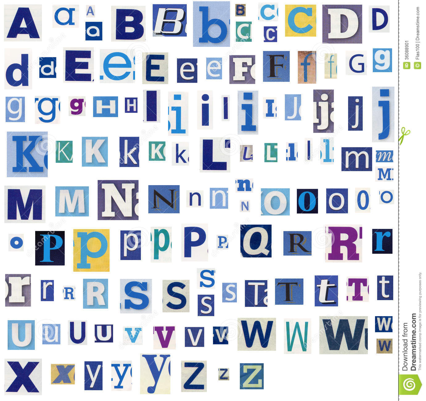 Alphabet Letters Made Of Newspaper, Magazine Stock Image - Image ...