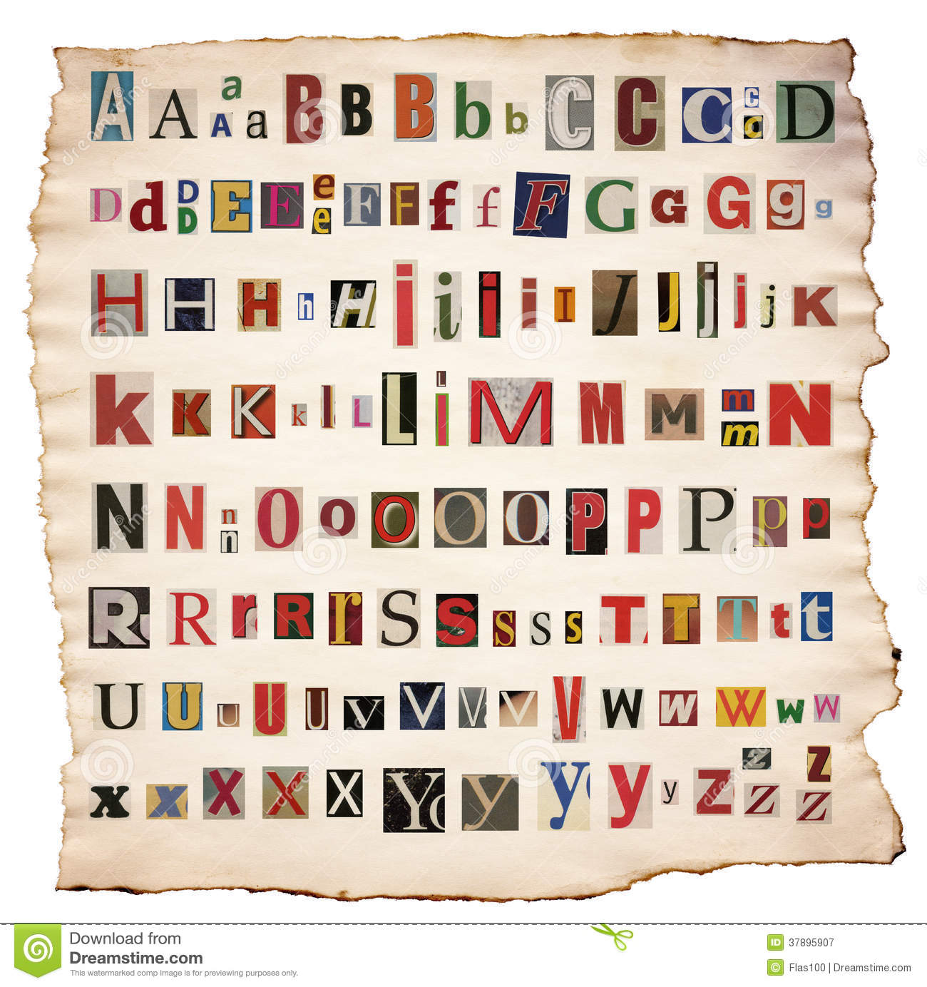 Alphabet Letters Made Of Newspaper Magazine Stock Image