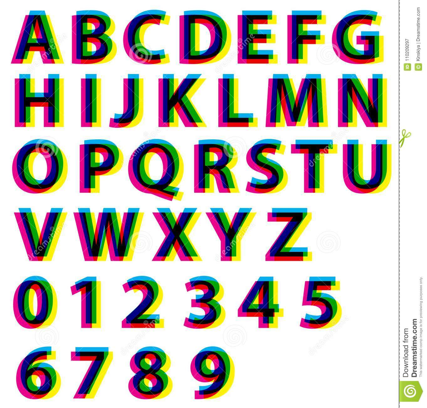 graphic relating to Printable Letters and Numbers titled Alphabet Letters And Figures Cmyk Rgb Affect Preset. Typography