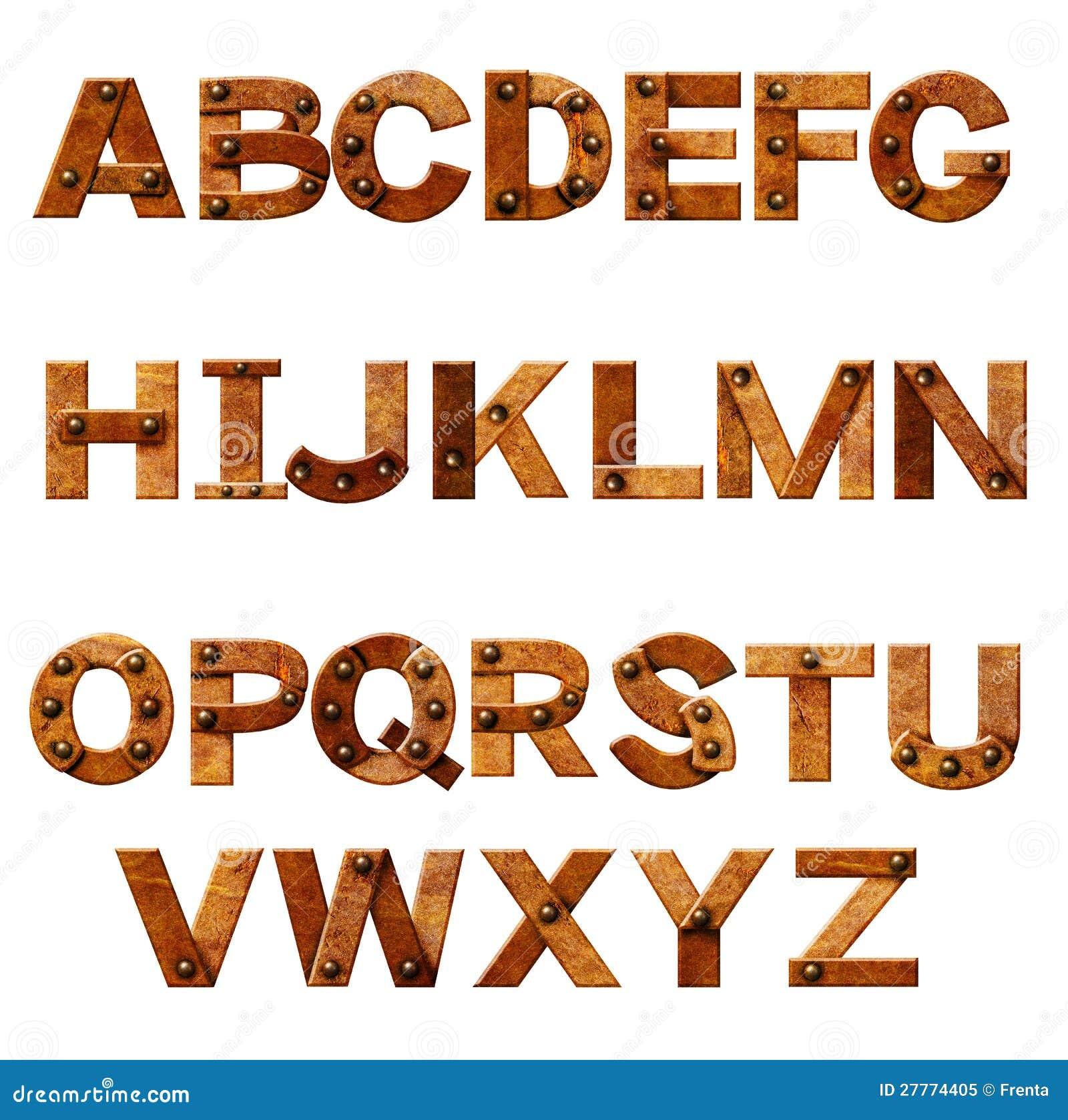 Alphabet - lettres de métal rouillé avec des rivets