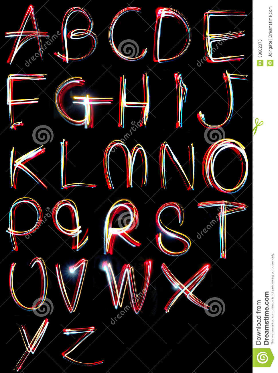 Alphabet Light Neon Writing Long Exposure Royalty Free Stock Photo Image 3