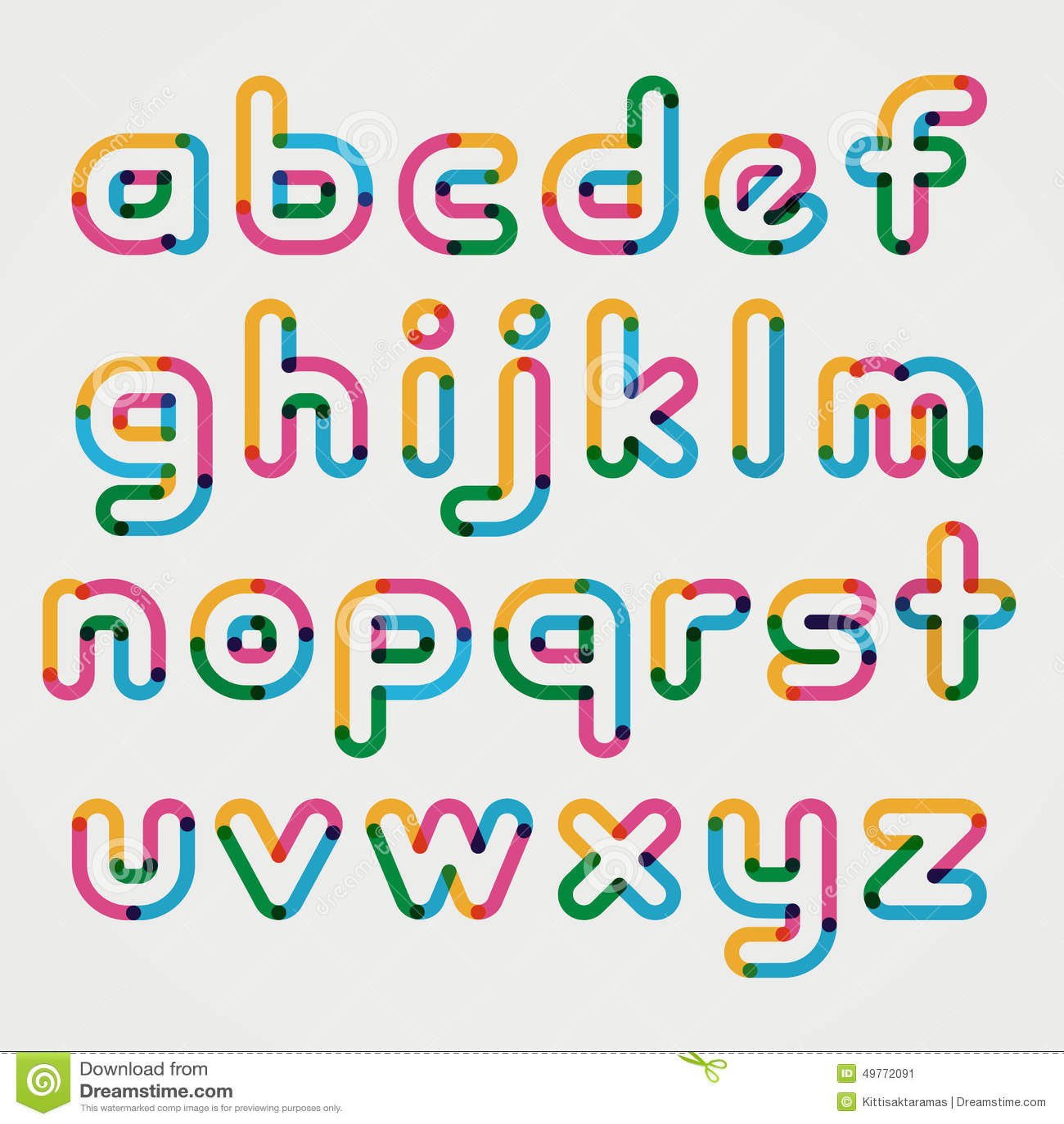 Text Decoration Italic: Alphabet Line Transparent Color Font Style. Stock Vector