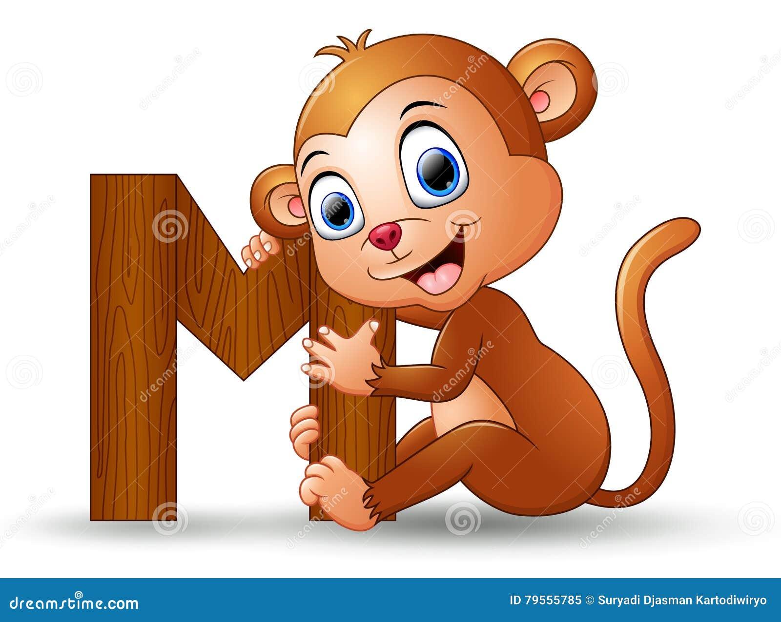 Alphabet M With Monkey Cartoon Stock Vector - Image: 79555785