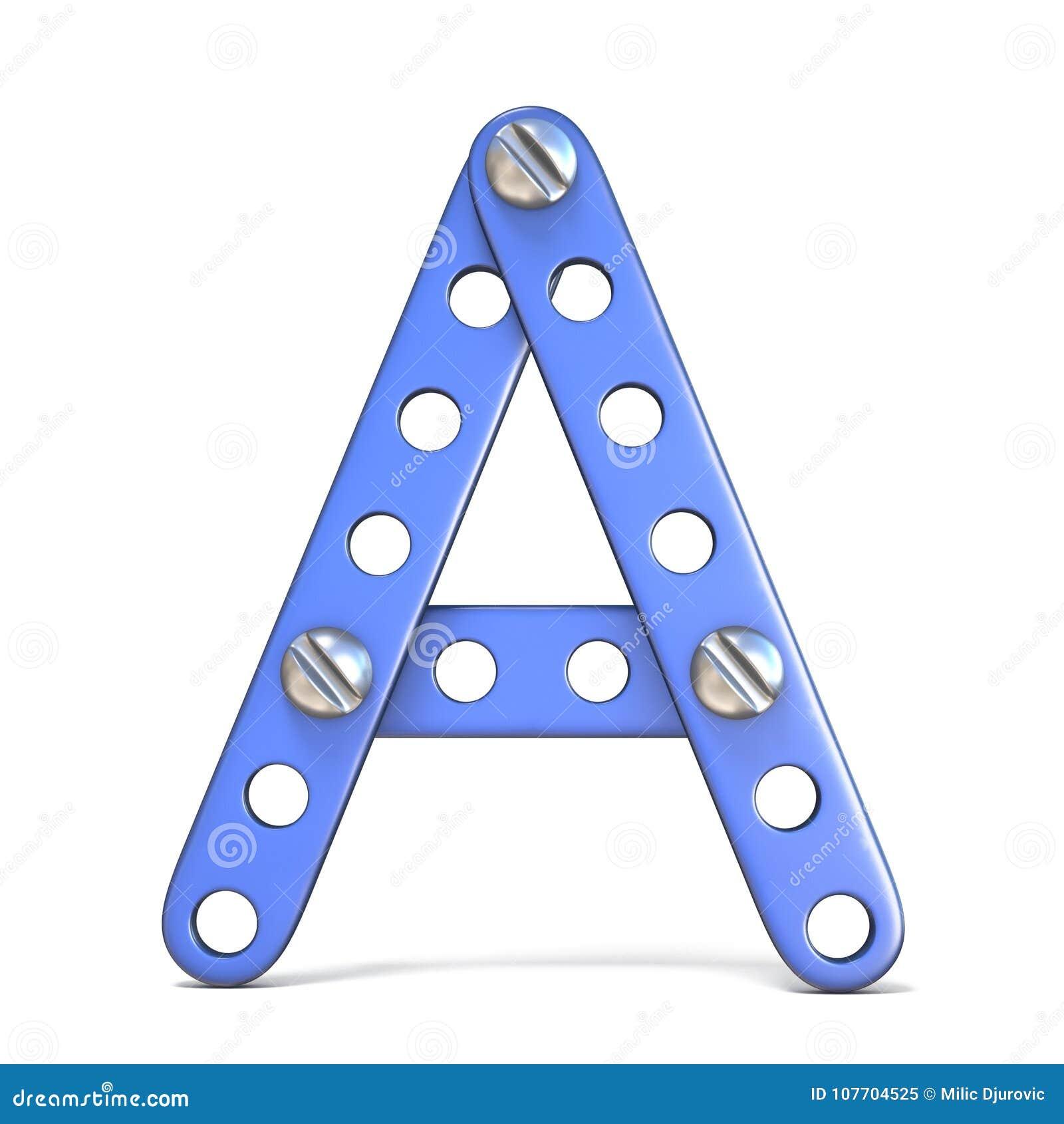 Alphabet Machte Von Blauem Metallerbauer-Spielzeug Buchstaben A 3D ...