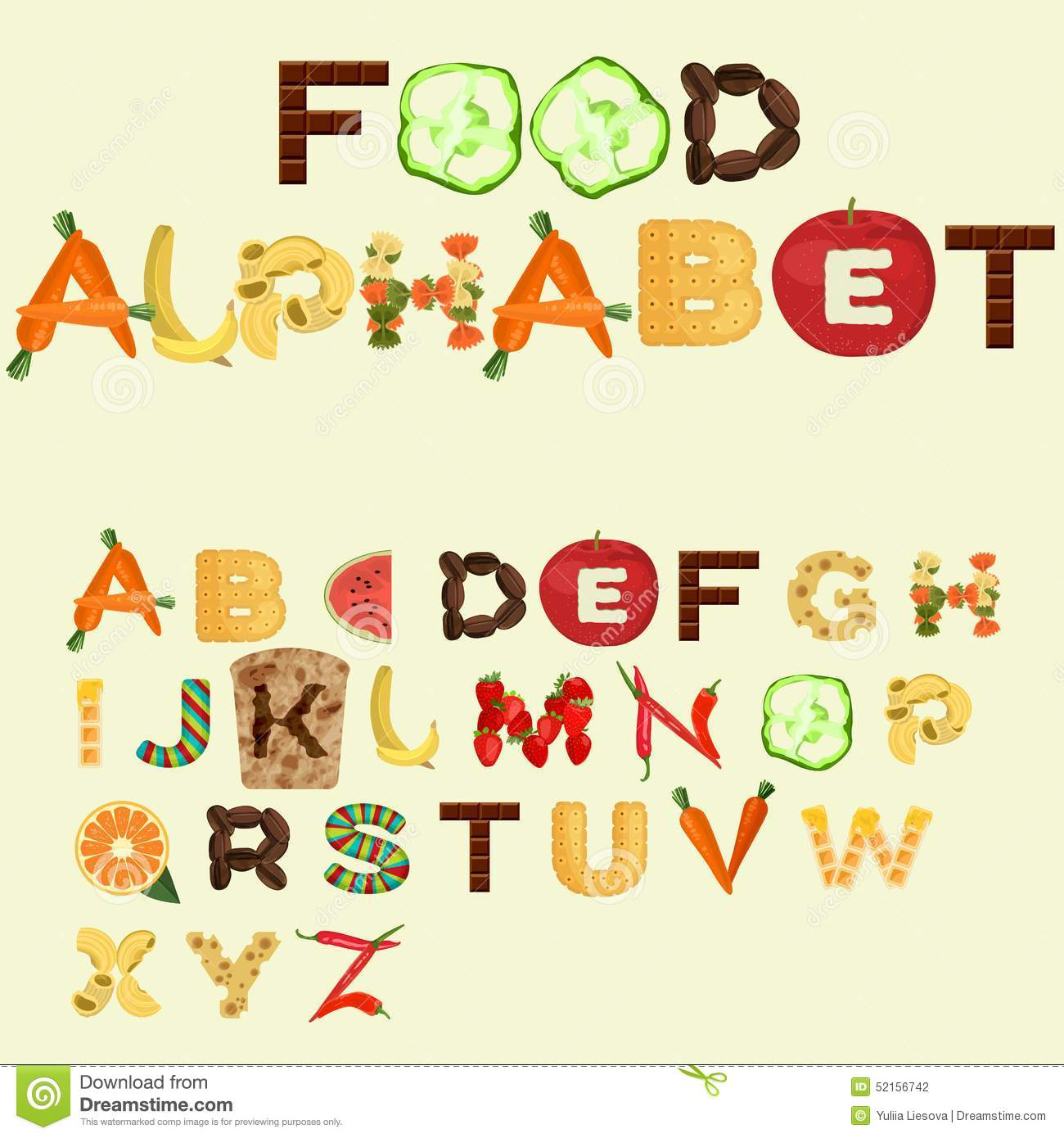 Kitchen Poster Food As Alphabet With Food Name: Alphabet Made Of Different Food, Flat Design Stock Vector