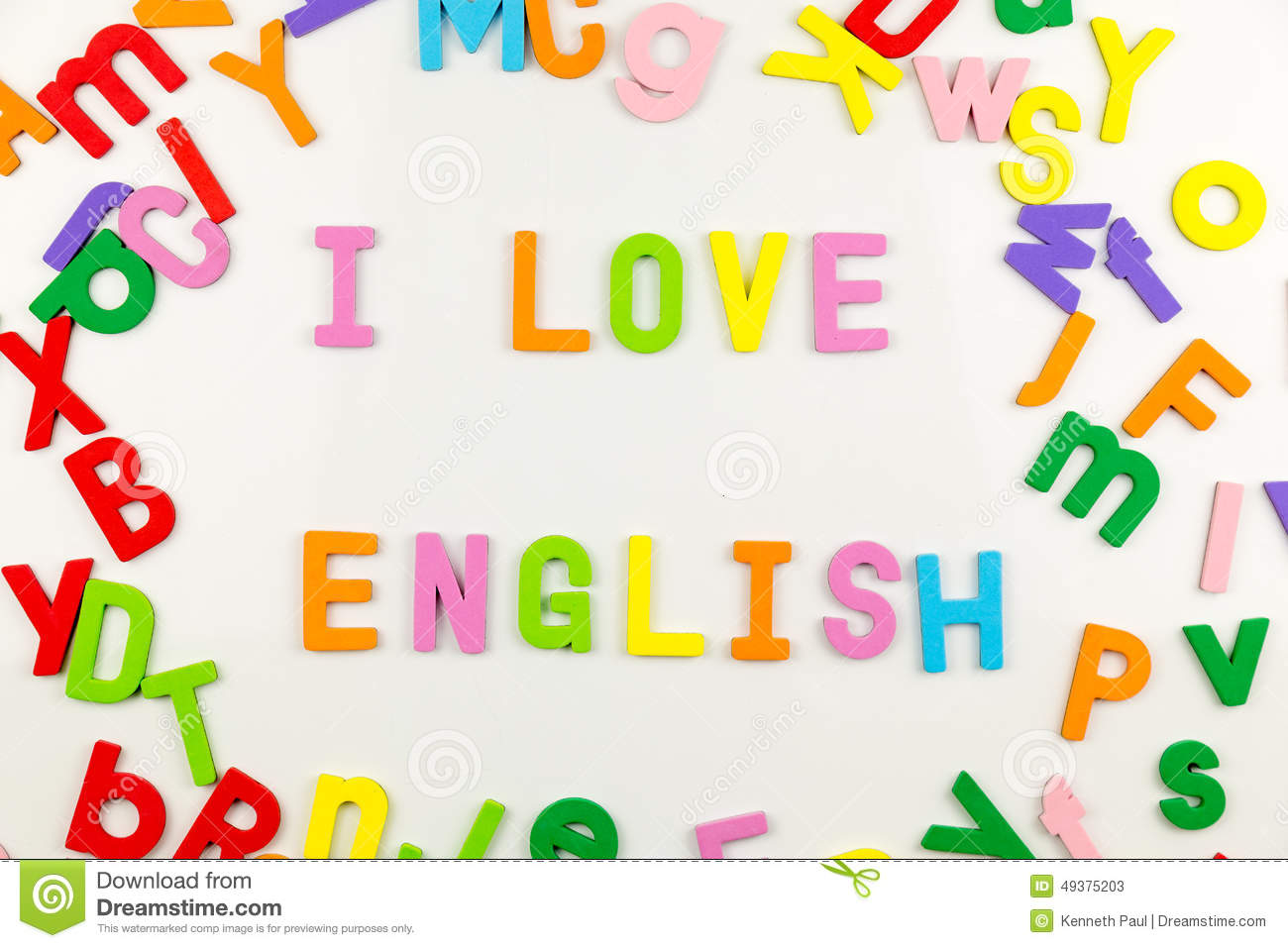 Stock Photo Alphabet Magnets Whiteboard Colorful Spelling I Love English Image49375203 on Preschool Color Green
