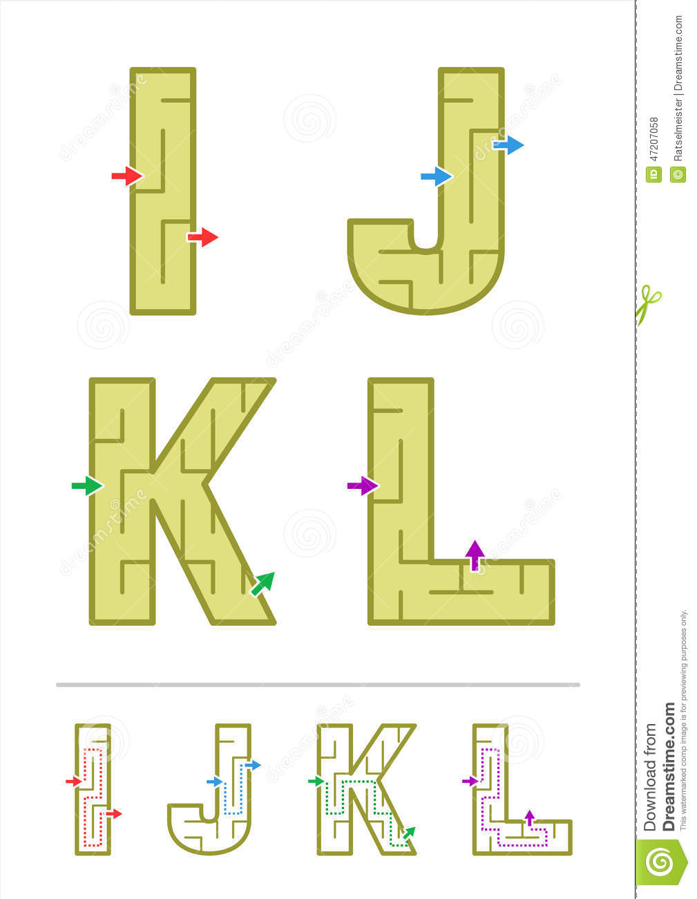 Alphabet Maze Games I, J, K, L Stock Vector - Image: 47207058