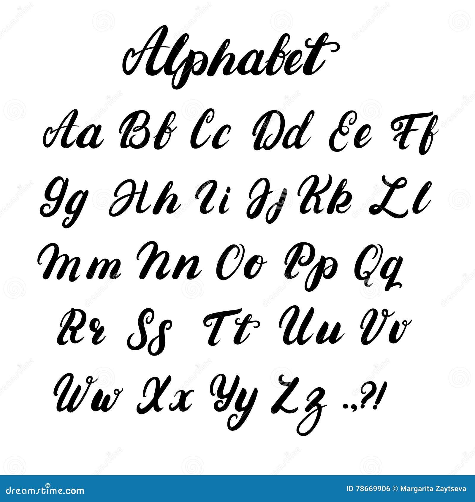Connu Alphabet Minuscule Et Majuscule De Calligraphie écrit Par Main  KI08
