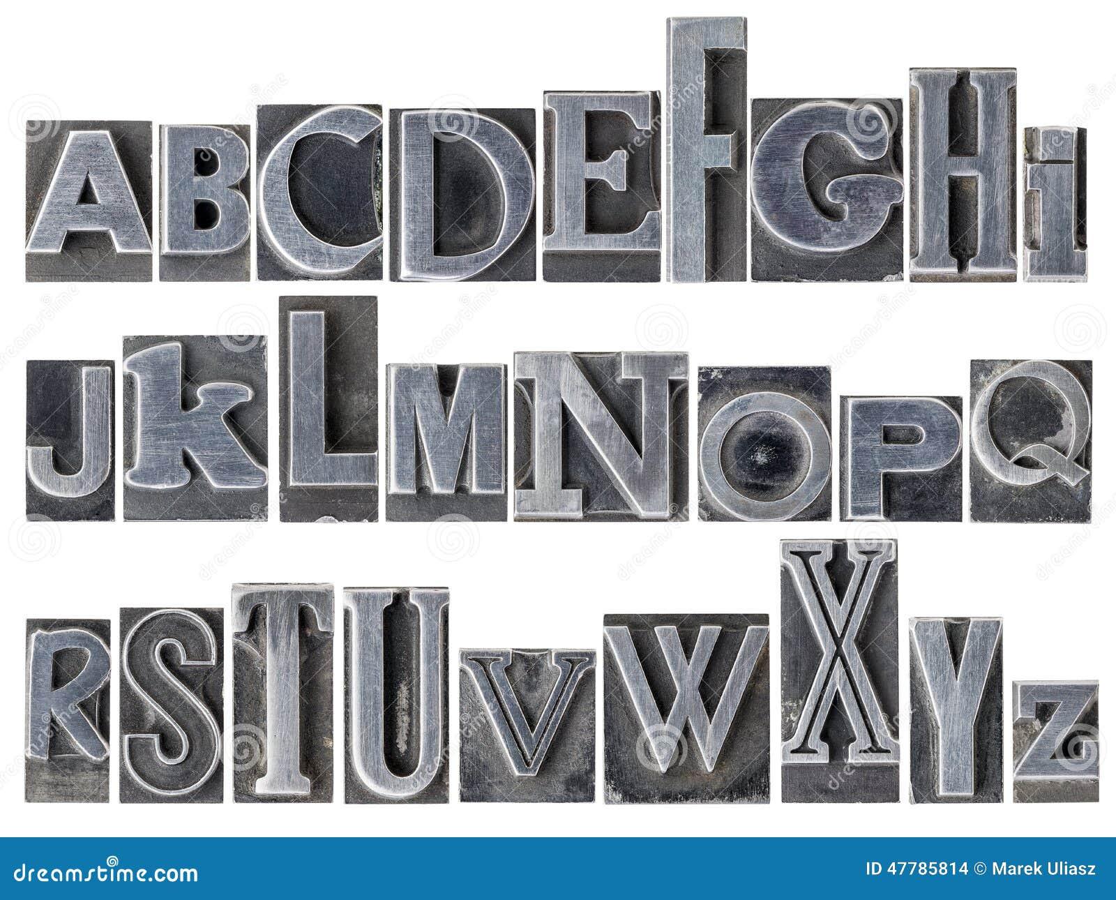 Alphabet In Mixed Metal Type Stock Photo - Image: 47785814
