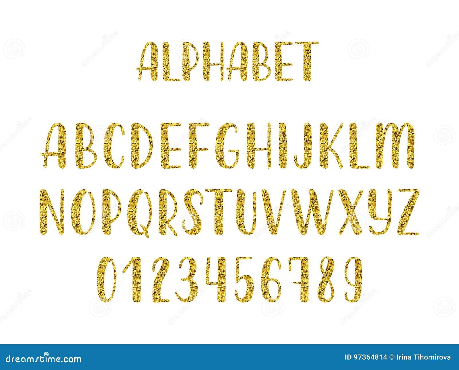 Alphabet moderne latin tiré par la main de brosse de calligraphie de scintillement d or des majuscules Vecteur