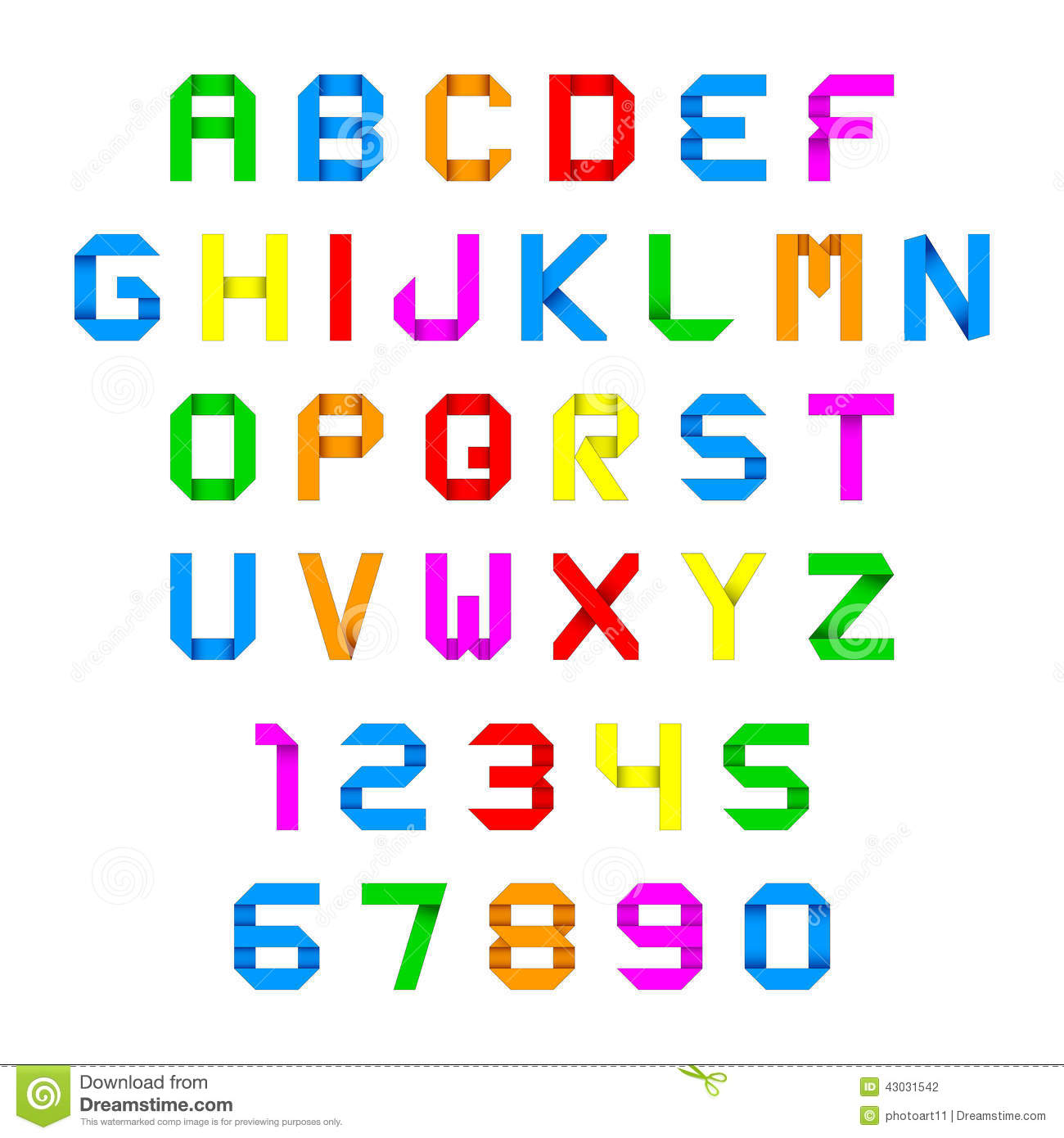 Colorful Paper Origami Numbers Stock Vector Illustration Of