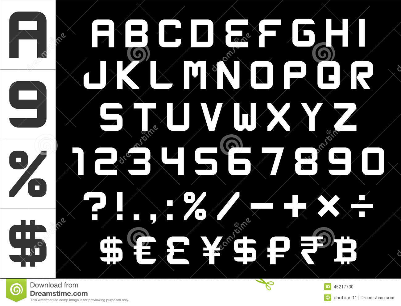Alphabet Numbers Currency And Symbols Pack Rectangular Basic