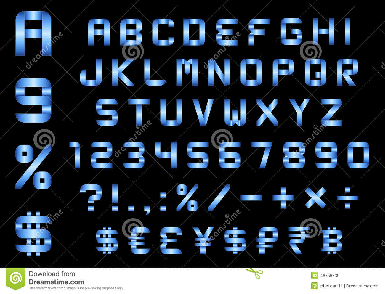 Alphabet Numbers Currency And Symbols Pack Rectangular Bent B