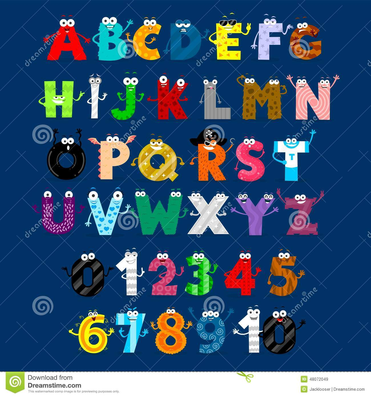 5 Letter Cartoon Characters : Alphabet numbers monster cartoon characters stock vector