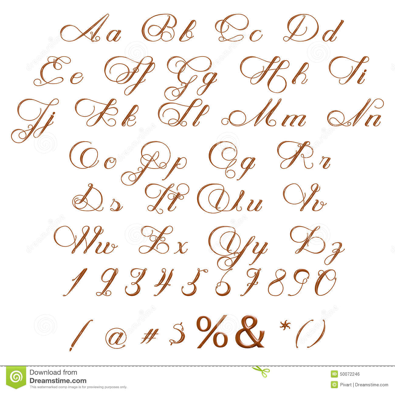 Alphabet Numbers And Symbols Made Of Chocolate Syrup Stock