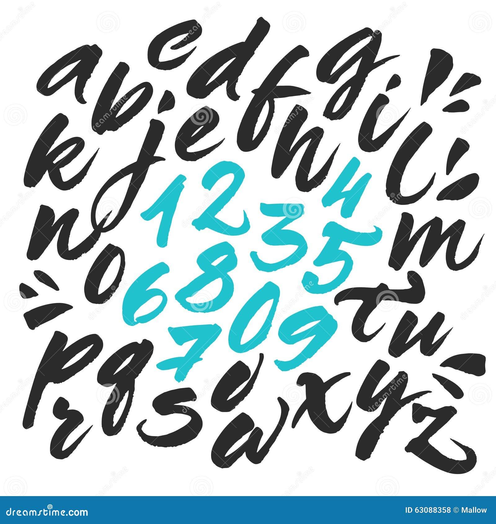 Download Alphabet Peint à La Main De Brosse Illustration de Vecteur - Illustration du script, rugueux: 63088358