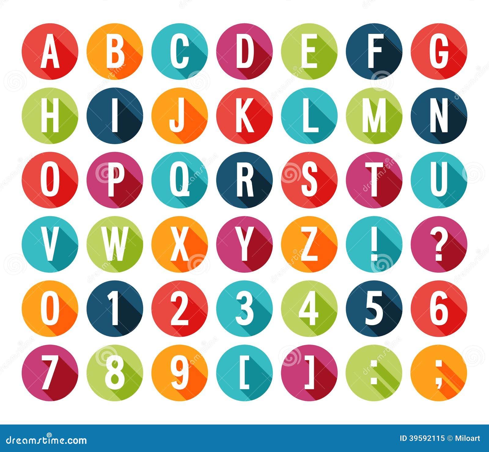 Alphabet plat d icônes.