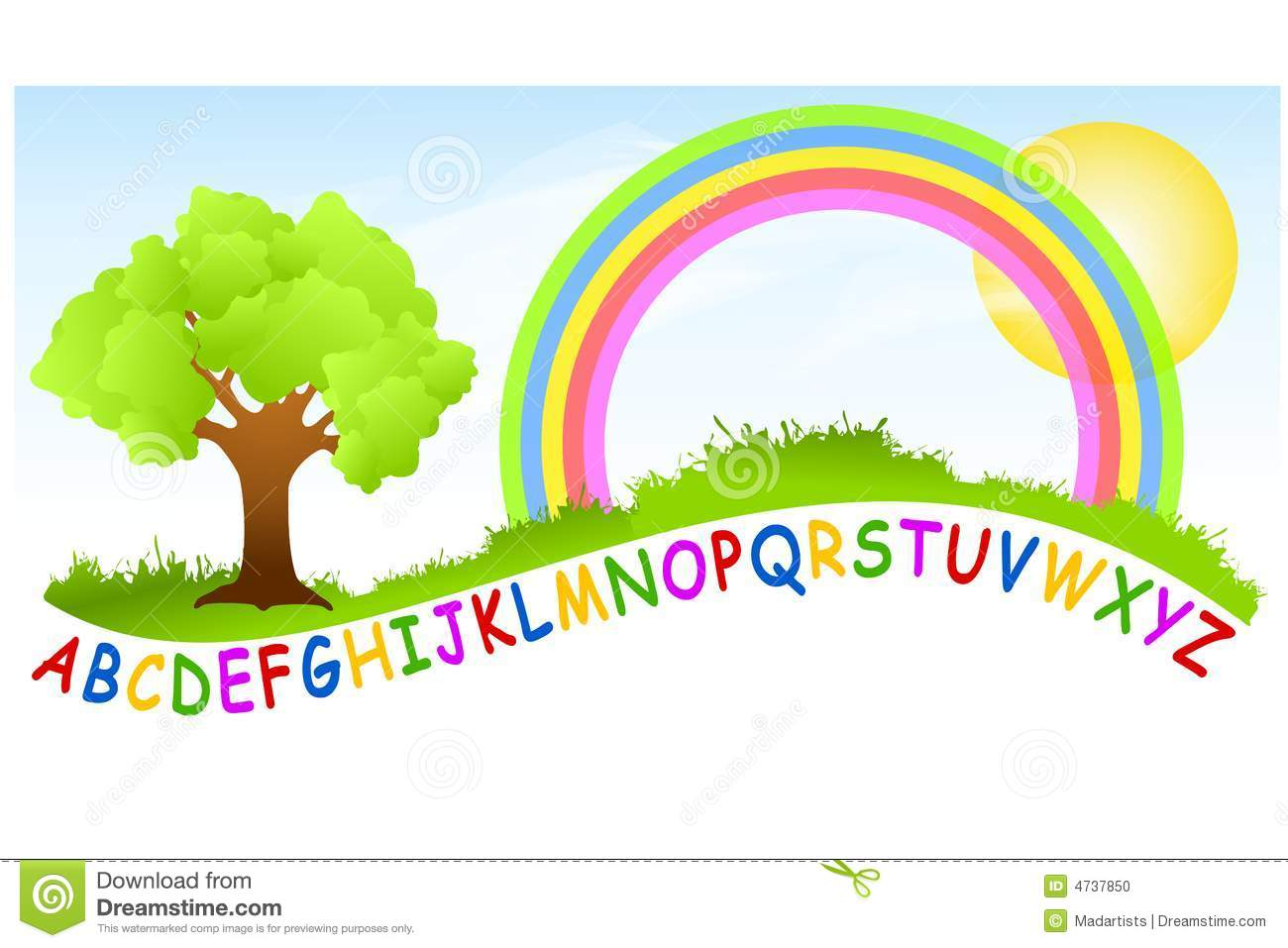 An illustration featuring a playground scene with rainbow and the ...