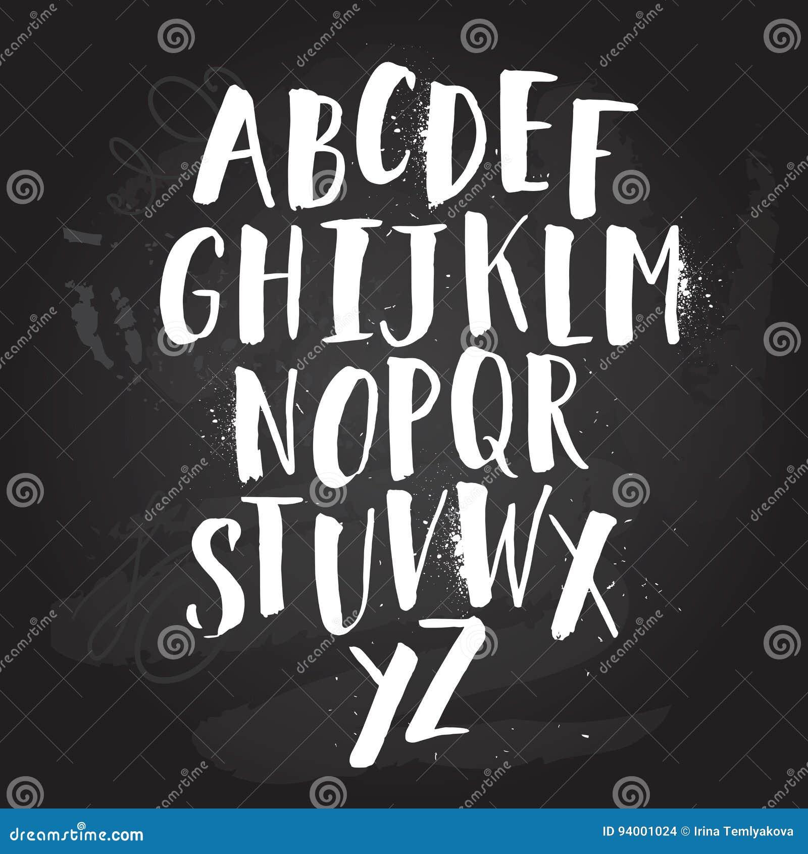 Trendy Poster Designs: Alphabet Poster, Dry Brush Ink Artistic Modern Calligraphy