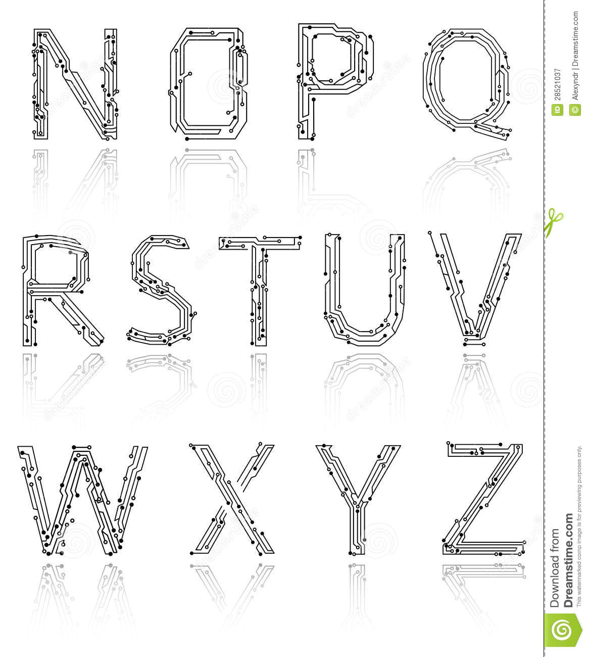 alphabet of printed circuit boards royalty free stock photography
