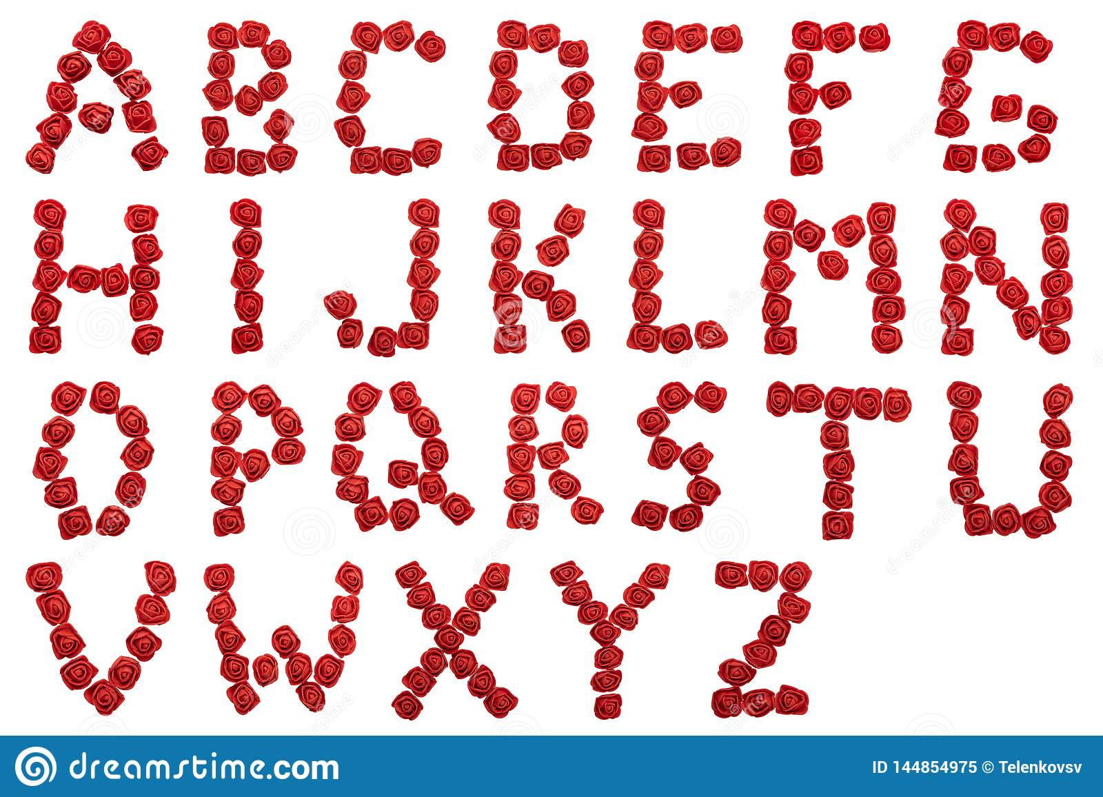Alphabet of red roses. Letters isolated on white background. Letters from flowers