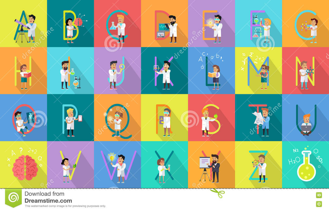 Character Design Letter : Alphabet science vector flat design concept stock