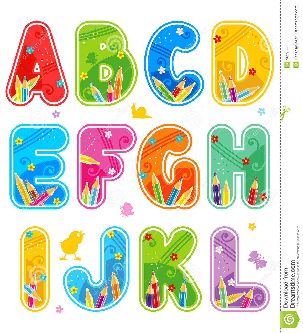 Alphabet set letters a l stock photo image 9029680 for Kitchen set letter l
