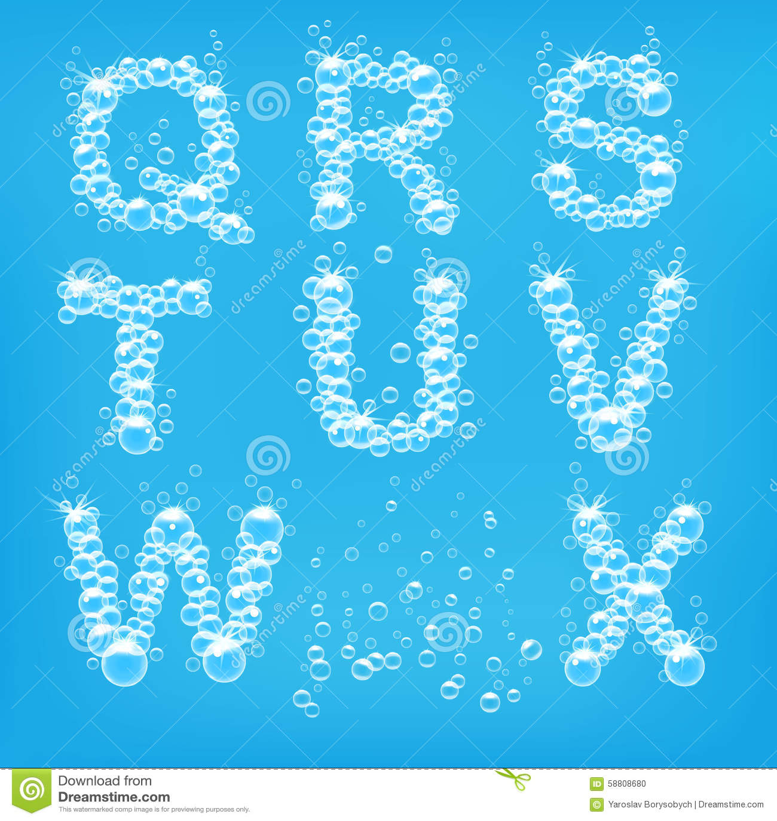 Alphabet Of Soap Bubbles Vector Stock Vector