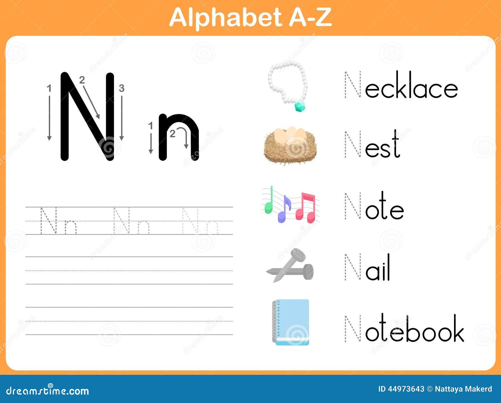 Alphabet-Spurarbeitsblatt: Schreiben A-Z Vektor Abbildung ...
