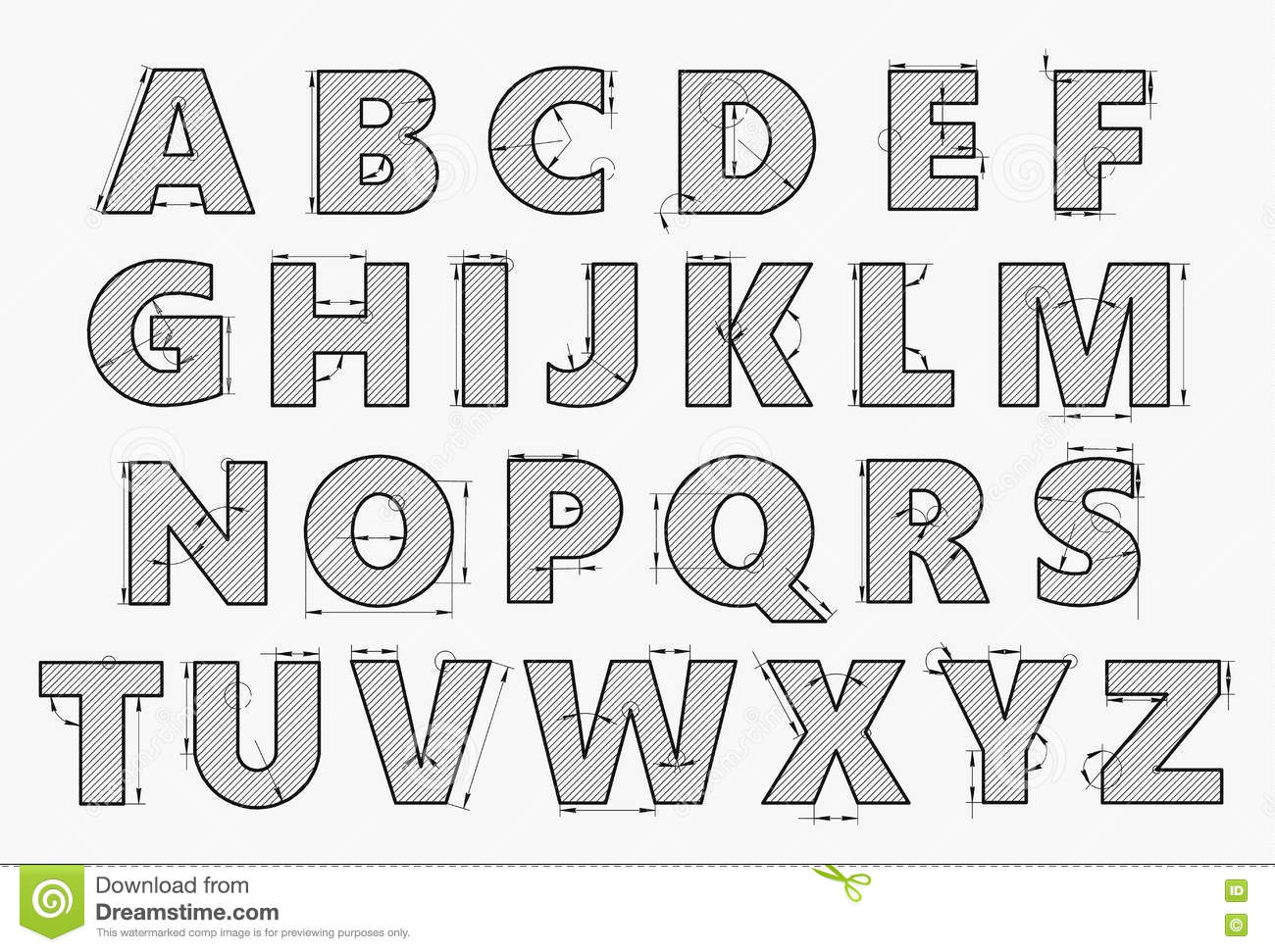 Alphabet In Style Of A Technical Drawing Stock Vector