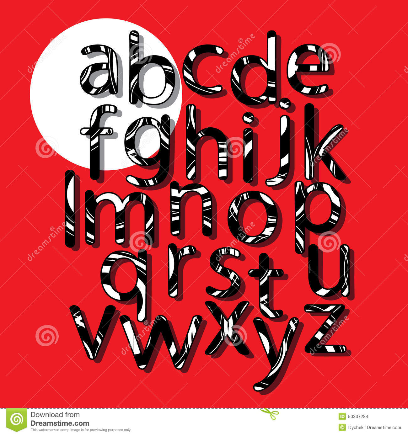 alphabet sur un fond rouge sur le cercle blanc remplir